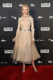 Nicole Kidman looked breathtaking in an embroidered nude fit-and-flare dress by Zuhair Murad Couture at the Australian premiere of 'Top of the Lake: China Girl.'