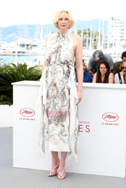 Gwendoline Christie finished off her look with red and white striped peep-toes, also by Fendi.