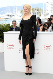 Nicole Kidman was flirty and sophisticated in an asymmetrical Versace LBD with a high slit and ruffle accents at the Cannes Film Festival photocall for 'Top of the Lake: China Girl.'