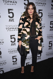 Atlanta de Cadenet went for some luxurious edge in a camo-patterned fur coat at the Topman New York City flagship opening dinner.