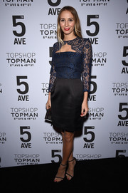 Harley Viera-Newton looked demure and classy at the Topman New York City flagship opening dinner in a blue and black cocktail dress with a lace-overlay bodice and peekaboo detailing.