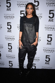 Ciara went for a tomboy vibe in black leather-look overalls by Topshop during the Topman New York City flagship opening dinner.