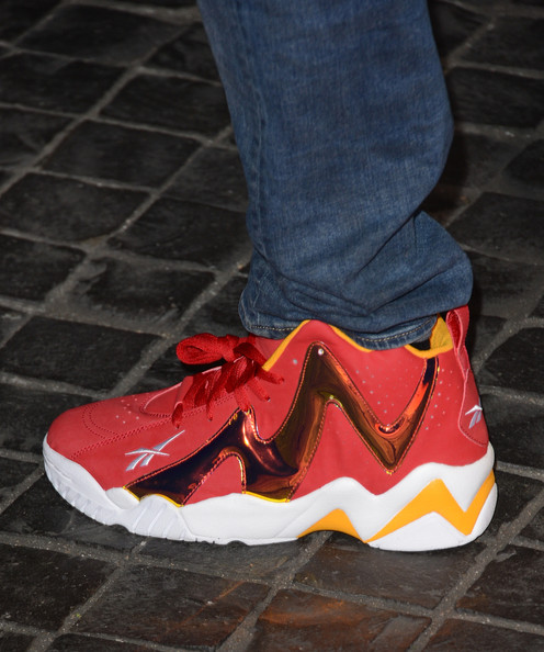 Chris Brown is no stranger to basketball sneakers. The singer often matches his kicks to his outfit, such as this red pair and a leather jacket with red embellishments.
