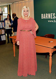 Tori Spelling wore this textured print maxi-dress to her book signing at Barnes & Noble.