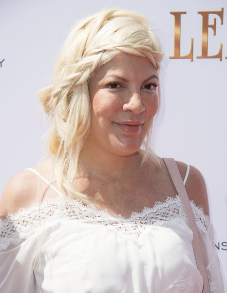 Tori Spelling Loose Braid [photo,hair,face,white,blond,hairstyle,beauty,skin,dress,chin,lip,leap,arrivals,tori spelling,valerie macon,california,los angeles,the weinstein company,premiere,premiere]