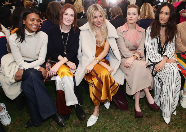 More Pics of Julianne Moore Satin Pants (1 of 26) - Pants & Shorts Lookbook - StyleBistro [people,social group,event,fashion,fun,crowd,ceremony,party,audience,sienna miller,zoey deutch,liya kebede,julianne moore,maggie q,front row,l-r,tory burch - backstage,bridge market,new york fashion week]