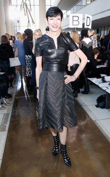 Amy Fine Collins went for an edgy vibe with this fitted black leather top during the Tory Burch fashion show.