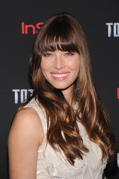 More Pics of Jessica Biel Long Wavy Cut with Bangs (5 of 21) - Jessica Biel Lookbook - StyleBistro