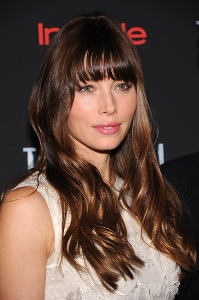 More Pics of Jessica Biel Long Wavy Cut with Bangs (4 of 21) - Jessica Biel Lookbook - StyleBistro