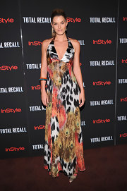 Shamone Jardim was a standout at the 'Total Recall' premiere wearing this multi-print maxi-dress.