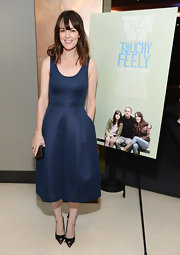 Rosemaire Dewitt kept it classic and tasteful with a rich navy-hued A-line.