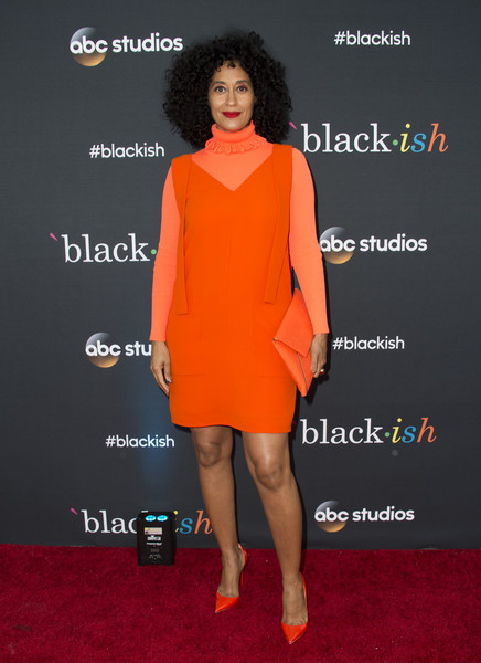 Tracee Ellis Ross Envelope Clutch [photo,clothing,orange,dress,red carpet,cocktail dress,red,carpet,fashion,yellow,shoulder,arrivals,tracee ellis ross,black-ish,north hollywood,abc,fyc,television academy,event,black-ish fyc special event]