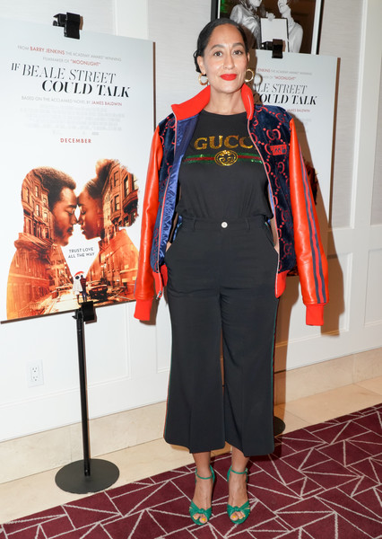 Tracee Ellis Ross Peep Toe Pumps [if beale street could talk,clothing,fashion,red,fashion design,outerwear,fashion model,fashion show,footwear,dress,carpet,tracee ellis ross,west hollywood,california,the london hotel,screening,screening]