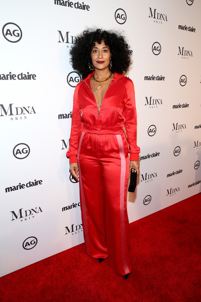 Tracee Ellis Ross Satin Pants [red carpet,red carpet,clothing,red,carpet,flooring,premiere,dress,formal wear,suit,fashion design,tracee ellis ross,marie claires image makers awards,west hollywood,california]
