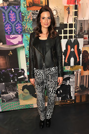 Torrey Devitto topped off her rocker-chic look with black ankle boots.