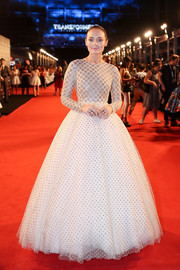 Laura Haddock wowed in a dotted princess gown by Giambattista Valli Couture at the China premiere of 'Transformers: The Last Knight.'