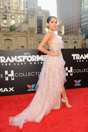 Isabela Moner made us swoon with this floaty pale-pink halter gown by Marchesa at the US premiere of 'Transformers: The Last Knight.'