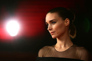 Rooney Mara styled her hair into a segmented ponytail for the Rome Film Festival screening of 'Trash.'