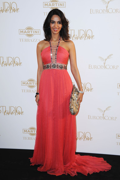 More Pics of Mallika Sherawat Evening Dress (4 of 5) - Dresses & Skirts Lookbook - StyleBistro [the tree of life,dress,clothing,shoulder,gown,fashion model,strapless dress,hairstyle,fashion,red carpet,formal wear,mallika sherawat,gray dalbion beach,cannes,france,martini terrace,party,cannes film festival]
