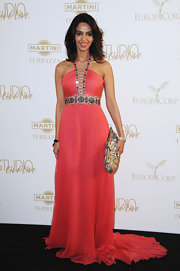Mallika looks divine at 'The Tree of Life' party at Cannes wearing a beaded coral chiffon gown.