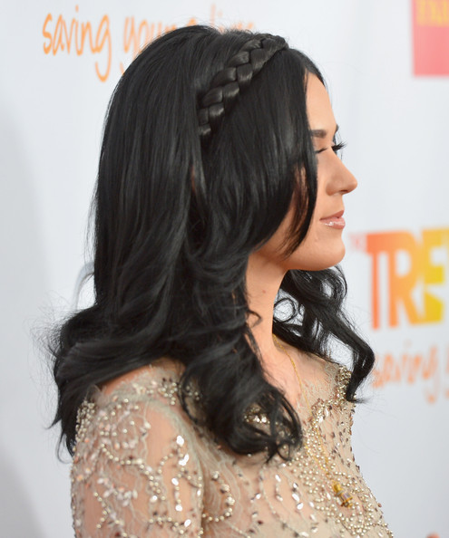 More Pics of Katy Perry Long Braided Hairstyle (1 of 31) - Long Braided Hairstyle Lookbook - StyleBistro