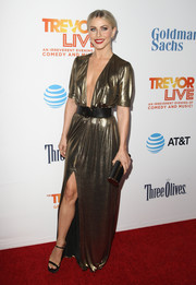 Julianne Hough went for a daring plunge in a gold Reformation gown with a down-to-the-navel neckline at the 2016 TrevorLIVE LA.