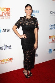 Jamie-Lynn Sigler kept it classic in a black sheer-panel lace dress at the 2016 TrevorLIVE LA.