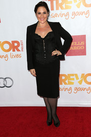 Ricki Lake was all covered up in a black skirt suit during TrevorLIVE. That corset top added a bit of sexiness, though.
