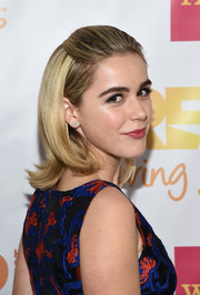 Kiernan Shipka went for some retro flair with this flippy half-up hairstyle at the TrevorLIVE LA event.