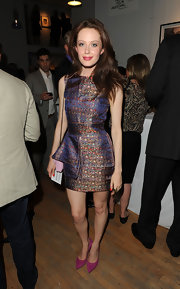 Autumn Stein looked like a piece of art at the Tribeca Ball in this brocade mini.