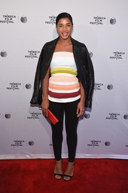 For a tough-chic touch, Hannah Bronfman draped a black leather jacket over her shoulders.