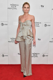 Jennifer Morrison was flirty-glam in a strapless polka-dot peplum top by Johanna Ortiz at the Tribeca TV: Indie Pilots.