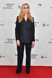 Zosia Mamet suited up in this navy grid-print set for the Tribeca TV: Indie Pilots.