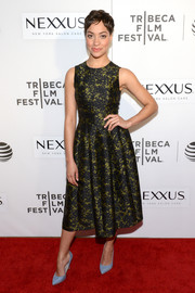 Cush Jumbo cut a ladylike figure in this fit-and-flare print dress at the Tribeca Film Fest screening of 'The Good Wife.'