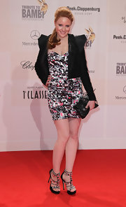 Barbara Meier looked daring in a black cropped jacket with sculpted shoulders at the Tribute to Bambi Charity Gala.
