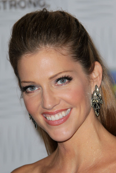 Tricia Helfer Dangling Diamond Earrings