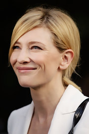 Cate Blancett wore her mid-length layered bob in a casual low ponytail with long side-swept bangs.