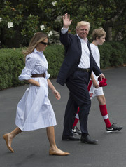Melania Trump kept her feet comfy in pointy tan flats by Christian Louboutin.