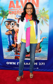 Garcelle Beauvais attended the DVD release party for 'Alvin and the Chipmunks: Chipwrecked' wearing a pair of cork platform slip-on sandals.