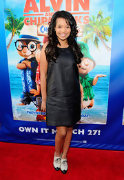 Daphne Blunt wore an adorable pair of two-tone wingtip oxfords to the 'Alvin and the Chipmunks: Chipwrecked' DVD release party.