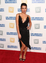 Lea Michele took the plunge with this deep V-neck lace frock that featured delicate beaded detailing.