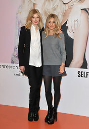 Sienna wears sophisticated shorts over tights for her and her sister's Twenty8Twelve collection launch.