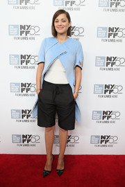 Marion Cotillared wore an unusual blue cocoon coat by Christian Dior to the 'Two Days, One Night' premiere at the 52nd New York Film Festival.