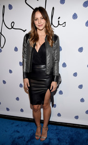 Katharine McPhee looked fierce in a black leather mini skirt with a high side slit at the Tyler Ellis 5th anniversary celebration.