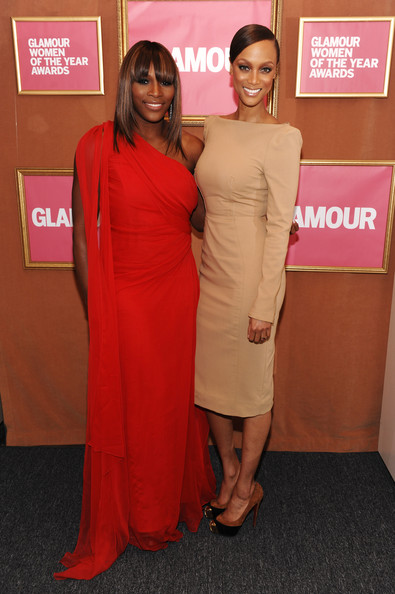 Tyra Banks Pumps [glamour magazine honors the 2009 women of the year - inside,the 2009 women of the year,clothing,dress,red carpet,shoulder,red,carpet,flooring,cocktail dress,pink,premiere,serena williams,tyra banks,tv personality,model,honoree,carnegie hall,new york city,l]