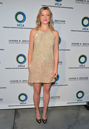 Amy Smart sparkled at the UCLA Evening of Environmental Excellence where she donned a nude sequin cocktail dress.