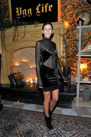 Liberty Ross was punk-chic in a long-sleeve LBD with a leopard-panel bodice at the UGG x Jeremy Scott launch.
