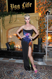 Katy Perry was tropical-glam in a strapless parrot-motif gown by Roberto Cavalli Couture at the UGG x Jeremy Scott launch.