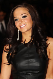 Tulisa Contostavlos wore long spiral curls and a pretty, cool-toned palette of makeup at the UK premiere of 'The Twilight Saga: Breaking Dawn Part 1.'