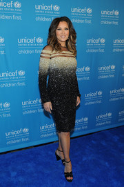 Vanessa Williams glittered in a Pamella Roland beaded ombre dress with a sheer-striped yoke during the UNICEF Hope Gala.